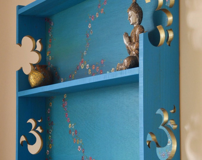 FREE UK SHIPPING Decorative Bespoke Wall Mounted Shelving Unit Turquoise Blue with carved gold Om Signs & Hand Painted Flower Design