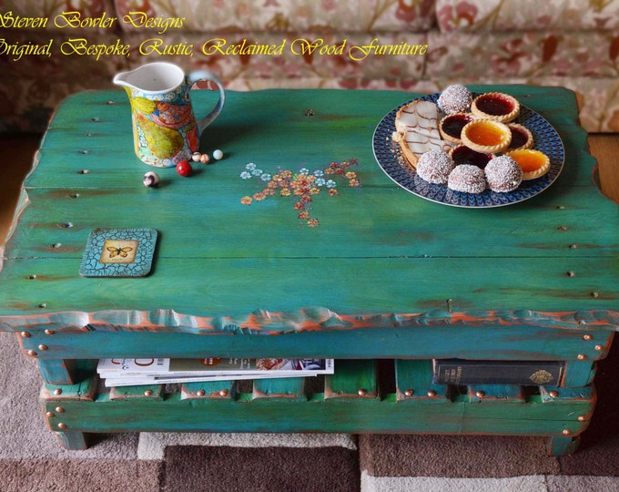 FREE UK SHIPPING Reclaimed Wood Coffee Table Rustic Green & Copper Hand Painted Flower Design 82 cm L x 50 cm W x 34 cm Handcrafted to Order