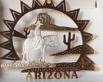 Vintage Arizona Brass Souvenir Ornament!