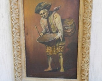 Fabulous Vintage Large  Asian Oil Painting in Ornate Frame!