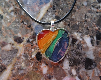 Hand painted Rainbow Necklace