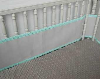 Aqua and Silver Breathable Breathable Crib Bumpers