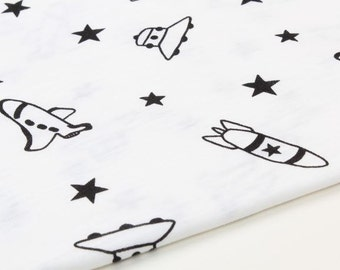 Spaceship and Stars Cotton Knit Fabric, Slub Texture Fabric by Yard - White