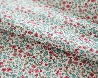 """Lawn Fabric - Little Flower Pattern Lawn Fabric """"Bella Mint"""" by Half Yard - 55"""" Width"""