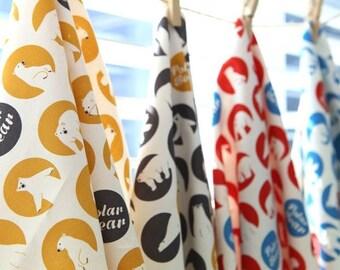 Polar Bear Pattern Cotton Fabric (145290)- 4 Colors Selection