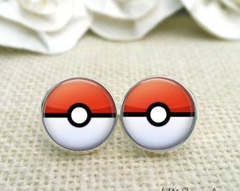 Pokeball Earrings, Pokemon Inspired Jewelry, Gamer Jewelry, Pokeball Stud Earrings