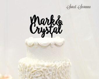 Custom Wedding Cake Topper - Name Cake Topper