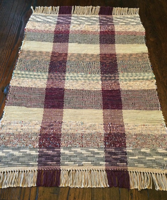 Plaid Rug: Burgundy And Tan Plaid Woven Rug