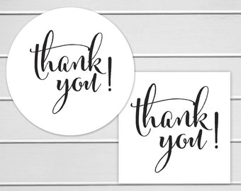 Thank You Labels, White Thank You Stickers (#520)