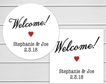 Wedding Welcome Stickers, Names and Date Wedding Sticker, Welcome Wedding Date Stickers, Wedding labels (#293)