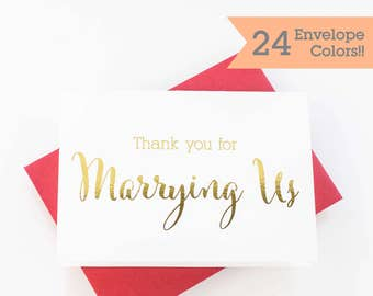 Gold Foiled Wedding Day Card, Thank You For Marrying Us, Wedding Officiant Thank You Card (WC175-CN-F)
