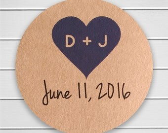 Save The Date Stickers, Kraft Stickers, Envelope Seals, Save the Date Calendar Stickers, Custom Wedding Stickers (#091-KR)