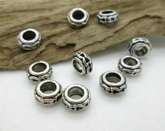 Antiqued Silver Large Hole Round Spacer Bead, 7x4mm (10)