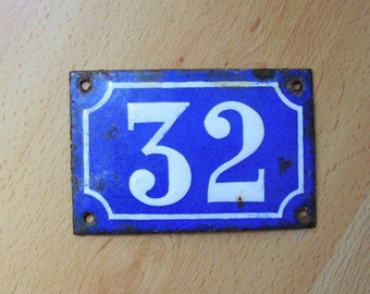 Vintage French House Number 32 Enamel Sign Plaque