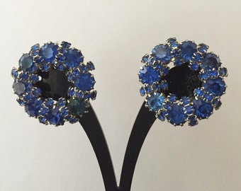 Weiss Blue Rhinestone Earrings, Weiss Cobalt Blue Rhinestone Earrings, Weiss Blue Clip On Rhinestone Earrings