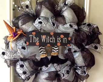 """SALE!  24"""" Halloween """"The Witch is in"""" black/white deco mesh wreath.  Was 49.99"""