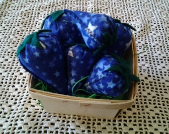 Set of 6 blue and silver star patriotic fabric berries, bowl fillers