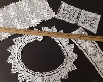 Vintage crochet lace trim edging for projects reworking craft dolls art card making