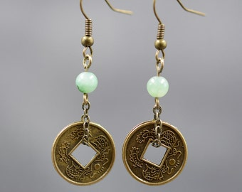 Antique coin earrings ,jade handmade earrings,the best gift for friends