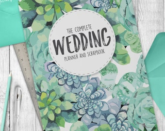 Wedding Planner Book - Complete Wedding Organiser Green Succulent Pattern
