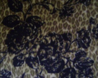 Floral Leopard Antipill Fleece Fabric Sold by the Yard