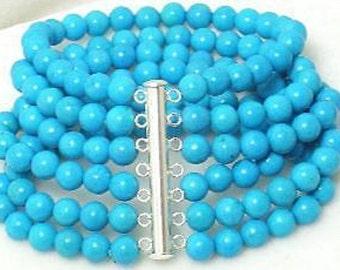 Handmade  925 Sterling Silver 6-Row Turquoise Bracelet