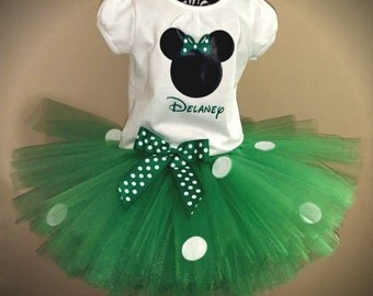 Green Minnie Mouse Tutu Outfit. Perfect for St. Patty's Day