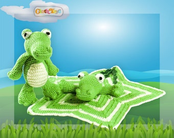 Crochet CROCODILE Toy and Security Blanket, Crocodile Lovey, Green Blanket, Toy Crocodile, Soft Toy, Boys Baby Shower Gift, Ready to Post.