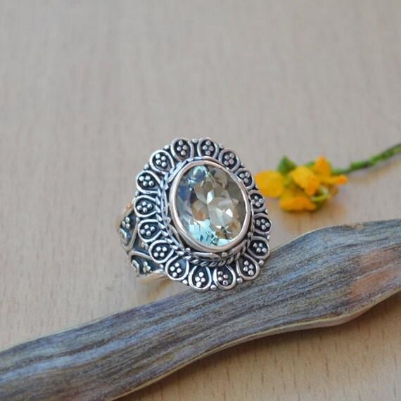 Prasiolite Gemstone Ring, Green Ring, 925 Sterling Silver Oval Cut Prasiolite Ring, Birthstone Gift Ring, Designer Gift Ring Size 8