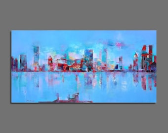 Abstract painting Original Painting  Contemporary 40 x 80 cm / 15.7 x 31.5 inches Horizontal painting Green, blue, turquoise, red
