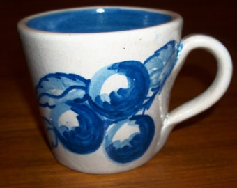 Vintage Original Handmade Hand-painted Dorchester Pottery 3 Plums and Leaves Design Cup with Blue Swirl Inside - signed CAH - 1950s