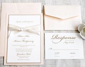 Blush Wedding invitations, Blush and Ivory Wedding Invitation, Wedding Invitation, Wedding Invitations, Blush, Cream, DEPOSIT