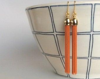 Gold plated sterling silver orange metal tassel earrings