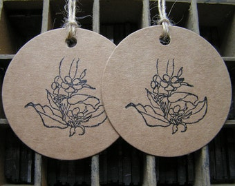 Letterpress orchid flower sympathy gift tags on Kraft card - pack of 2 large round