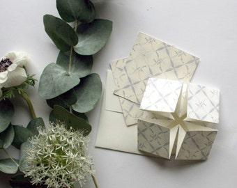 Powder grey Origami wedding invitation, RSVP card and information card SAMPLE*