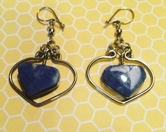 Denim lapis wire wrapped earrings