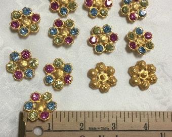 12 Vintage Multi Colour Matte Gold Buttons. Made in Czech Republic. Gold Buttons, Multi Colour Buttons.