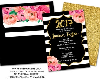 Graduation, Graduation Invitation, Graduation Announcement, Black and Gold, Floral, Pink, Gold, College, High School, Printable 5x7