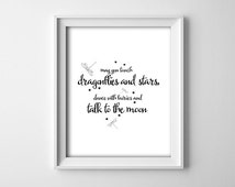 """INSTANT DOWNLOAD 8X10"""" printable digital art - touch dragonflies and stars - typography - black,white - Nursery decor - baby shower gift"""