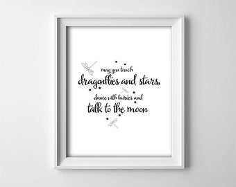 """INSTANT DOWNLOAD 8X10"""" printable digital art file-touch dragonflies and stars-typography-black and white-Nursery art-baby shower gift"""