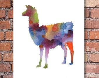 Llama - Art Print - Abstract Watercolor Painting - Wall Decor