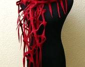 Felting Felted Lattice Net Scarf Red Merino Wool Viscose Perfect Gift for any occasion