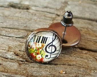 Keyboard Earrings, Post Earrings, Music Jewelry, Treble Clef Earrings, Music Themed Jewelry, Musician's Jewelry, Gift For Musicians