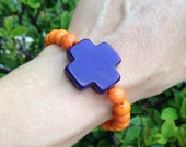 Purple Howlite Cross and Orange Magnesite Bead Stretch Bracelet, Crystal Beaded Jewelry, Fun Accessories