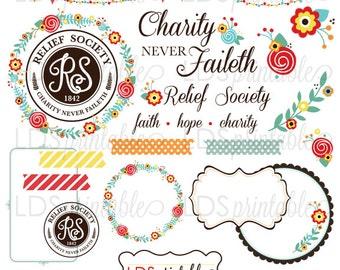RSCA002 - LDS Relief Society Clipart Clip art Faith Hope Charity Charity never faileth