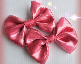 Metallic Pink Hair Bow Set Of 2