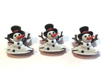Melting Snowman Buttons Jesse James Buttons Snow Don't Go Dress It Up Buttons Set of 3 Shank Back Black Top Hat - 674 R