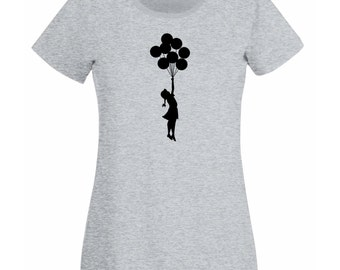 Womens T-Shirt with Banksy Flying Girl with Balloons / Escapism Girl with Balloon Shirts / Stunning Teen Shirt + Free Decal Gift
