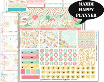 Summer Blossom MONTHLY Planner Stickers, Happy Planner Stickers, September Planner Stickers, Monthly Sticker Kit #SQ00373-MHP