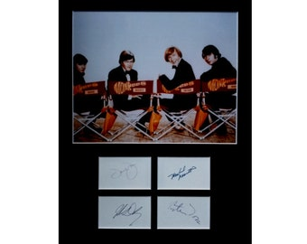 THE MONKEES AUTOGRAPH photo display Davy Jones Peter Tork Mike Nesmith Micky Dolenz